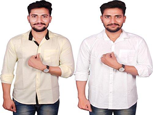 VERO LIE Cotton Linen Men's Casual Shirt Combo1