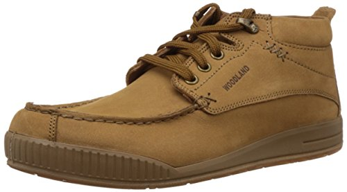 Woodland Men's Camel Leather Sneakers – 8 UK/India (42 EU)