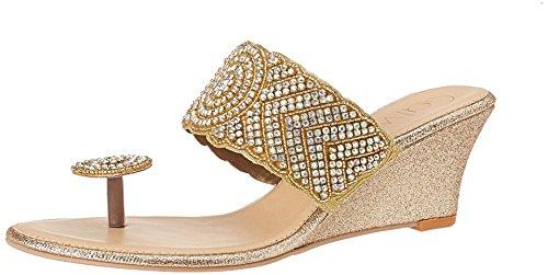 Catwalk Women's Gold Traditional Slippers – 7 UK/India (39 EU)