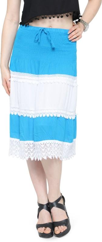 Camey Self Design Women's A-line Blue Skirt
