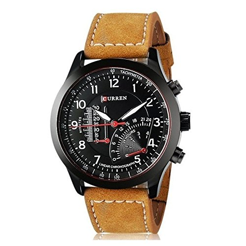 Talgo 2017 New Collection Curren Festive Season Special Black Round Shapped Dial Brown Leather Strap Party Wedding   Casual Watch   Formal Watch   Sport Watch   Fashion Wrist Watch For Boys and Men   Curren M-8152