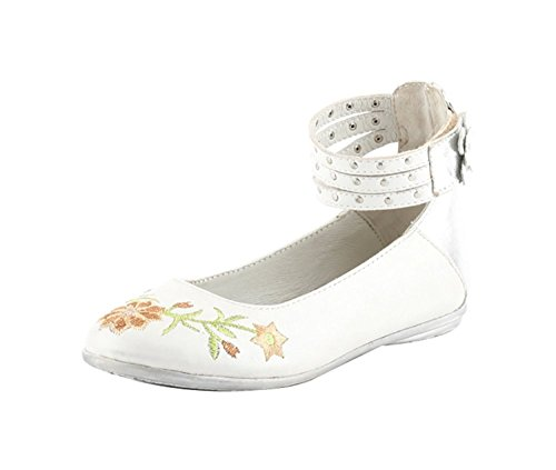VAPH Girl Ballerina Flats Napa Leather (30, White Silver)