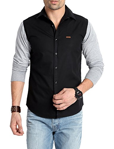 Rodid Men's Casual Shirt (RS15B0BGM-M, Black and Grey, M)