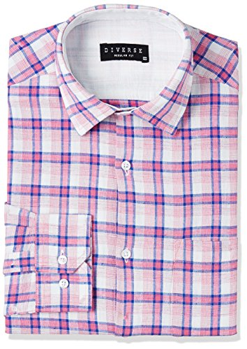 Diverse Men's Checkered Regular Fit Cotton Formal Shirt (DVF03F2L01-317-39_Multicolor_39)