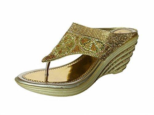Metro Women's Golden Partywear Stylish Sandals-4