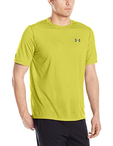 Under Armour Men's Plain Regular Fit T-Shirt (1289583_Smash Yellow/Graphite_Large)
