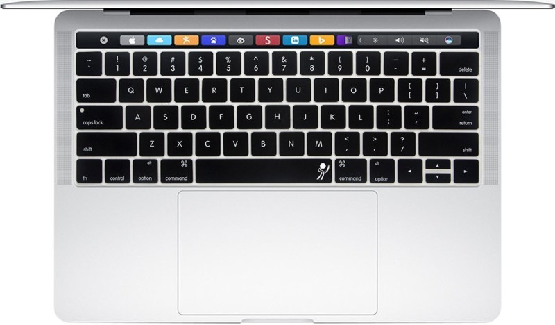 Saco Chiclet Keyboard Skin for Apple MacBook Pro MLH12HN/A 2016 (Core i5/8GB/256GB/Mac OS/Integrated Graphics/Touch Bar), Space Grey Keyboard Skin(Black with Clear)
