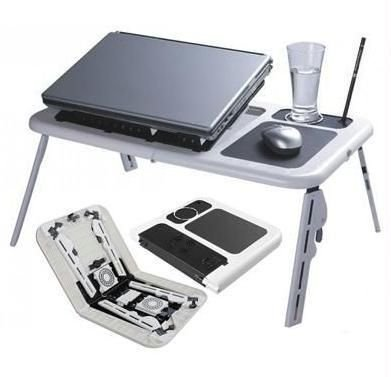 Flying Birds Portable Folding Laptop Desk Stand Table With Adjustable Legs, 2 Cooling Fans and USB Port, Multi-Functional Laptop Cooling Pad (White)