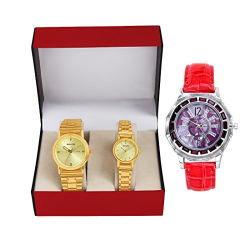 sonata golden dial day and date couple watch -