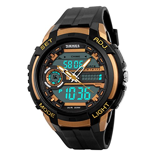 Addic S-Shock Analogue-Digital Golden Dial Sports Watch for Men's & Boys.