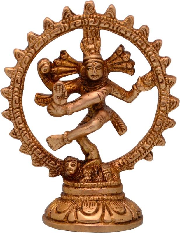 Purpledip Nataraja (Lord Shiva Mahadev In Dance Pose) Brass Statue For Home Temple Mandir Showpiece Showpiece  –  11 cm(Brass, Gold)