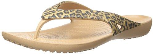 Crocs Kadee II Leopard Print Women Flip in Gold