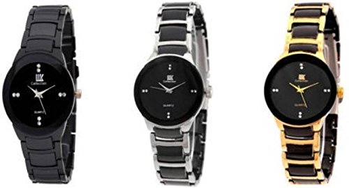 dv enterprise silver golden and full black analog watch for girls or womens -
