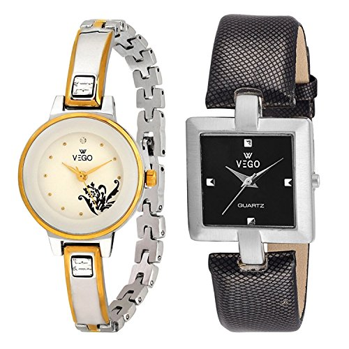 Combo Of 2 New Stylish shinning Chain metal Belt With Dial Analog Watch for women and girls By VEGO