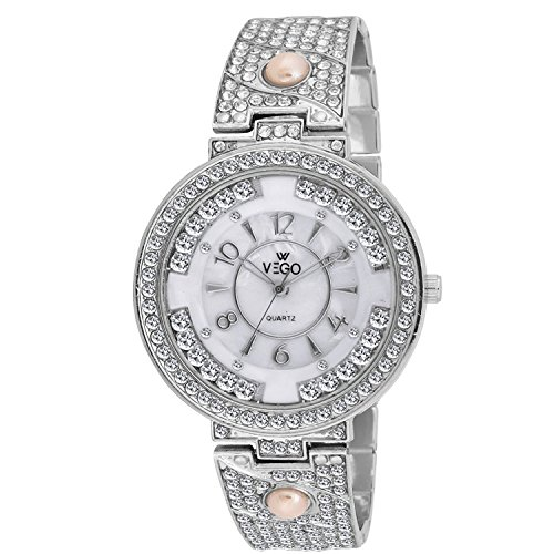 New Stylish shinning Diamond White and Silver Chain metal Belt Round Dial Watch for women and girls By VEGO …