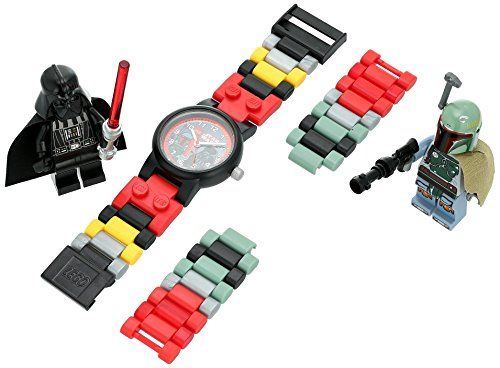 LEGO Star Wars 8020813 Boba Fett and Darth Vader Kids Buildable Watch with Link Bracelet and Minifigures | black/red | plastic | 28mm case diameter| analog quartz | boy girl | official