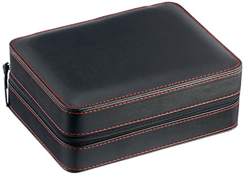 Diplomat 31-468 Black Leather Quad Watch Zippered Travel Case with Black Suede Interior Watch Case