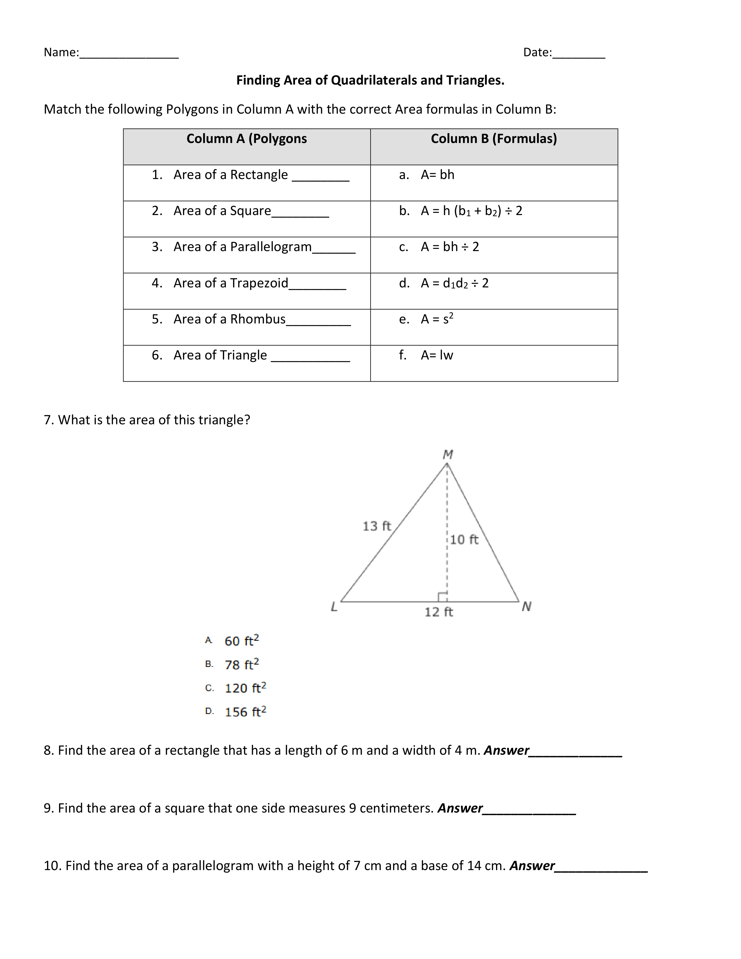 Finding The Area Of Quadrilaterals And Triangles