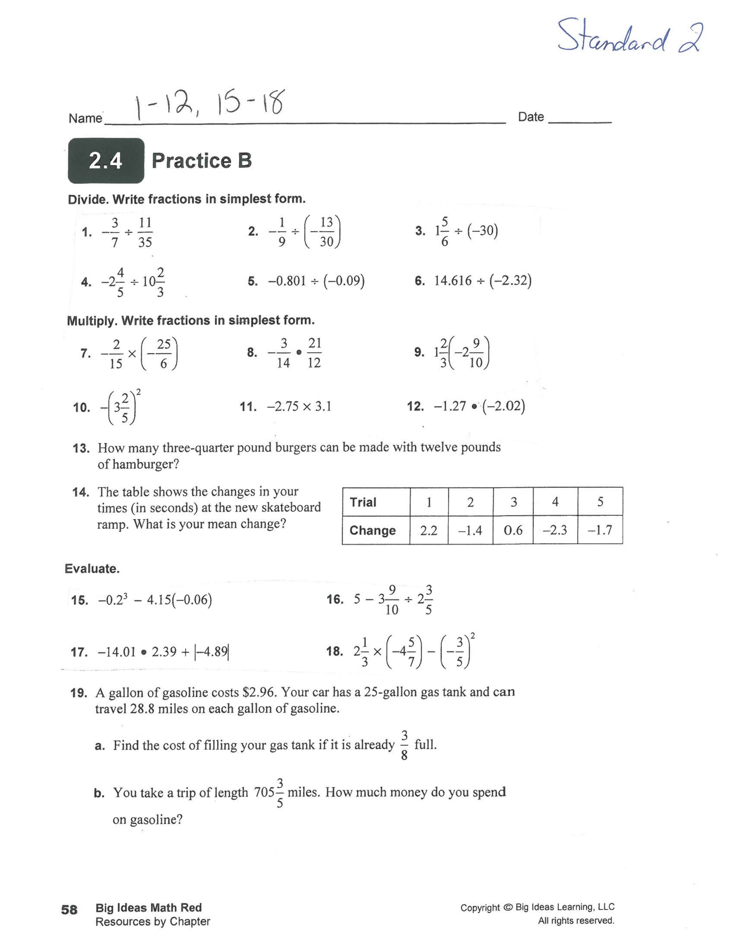 Standard 2 Worksheets