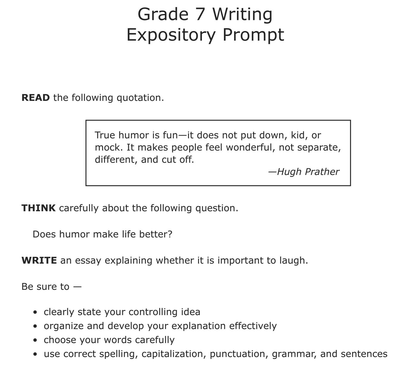 Sample Rubric Expository Essay