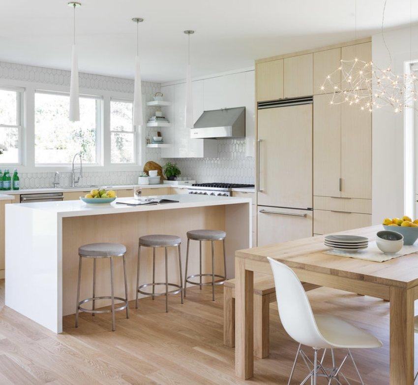 Modern Kitchen with warm wood tones