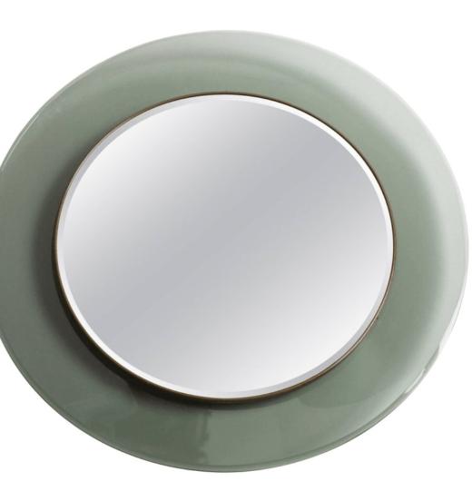 A light green wall mirror for Fontana Arte