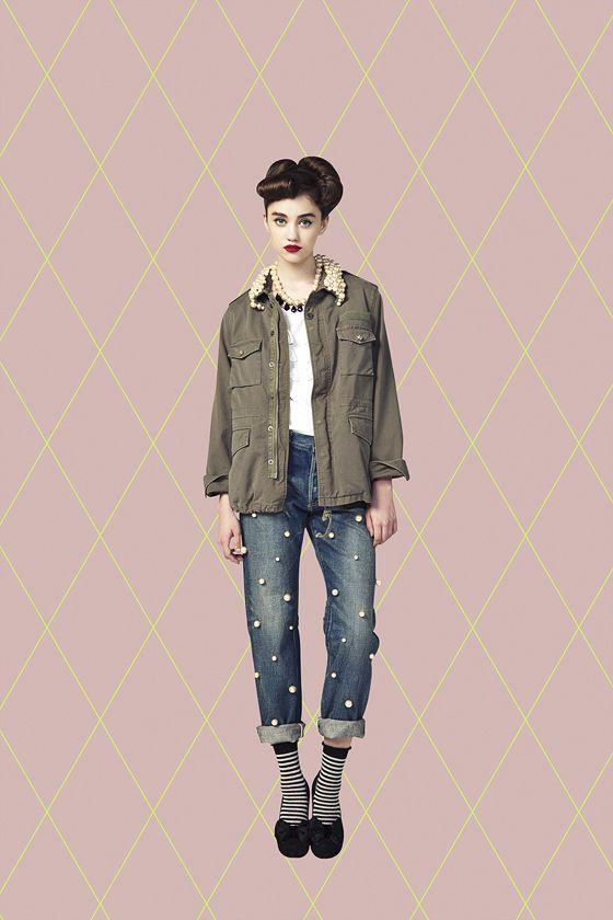 Jeans, pearls, studded, Tu Es Mon Tresor