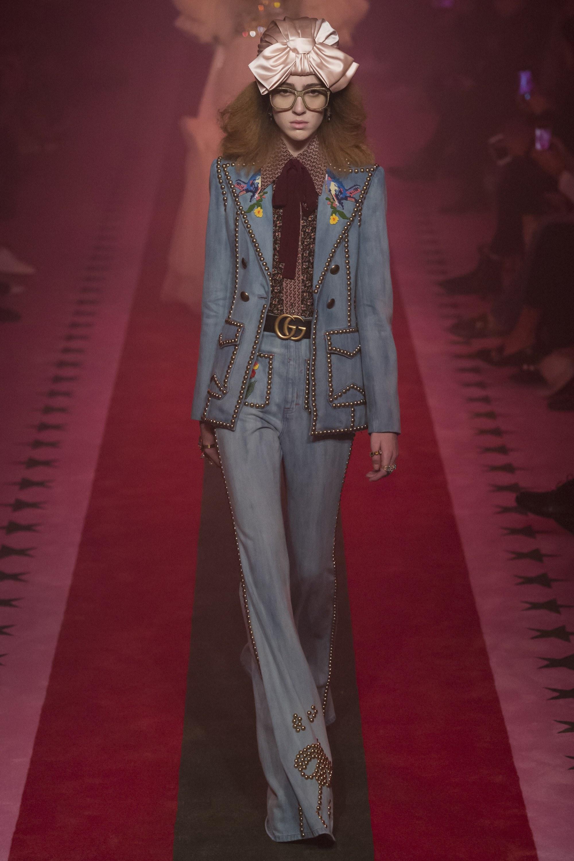 Gucci, studded denim, canadian tuxedo, double denim