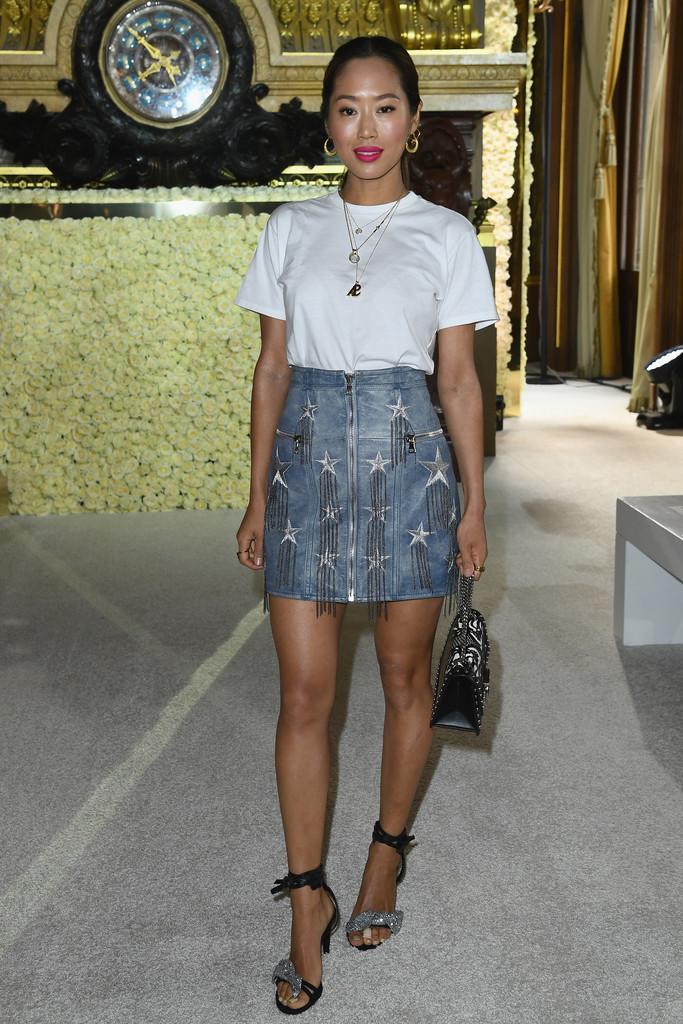 Aimee Song, Balmain, Studded Skirt, jeans, denim skirt
