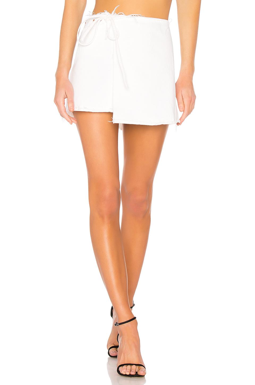 wrap skirt, wrap denim, jeans, denim skirt, white denim, GRLFRND
