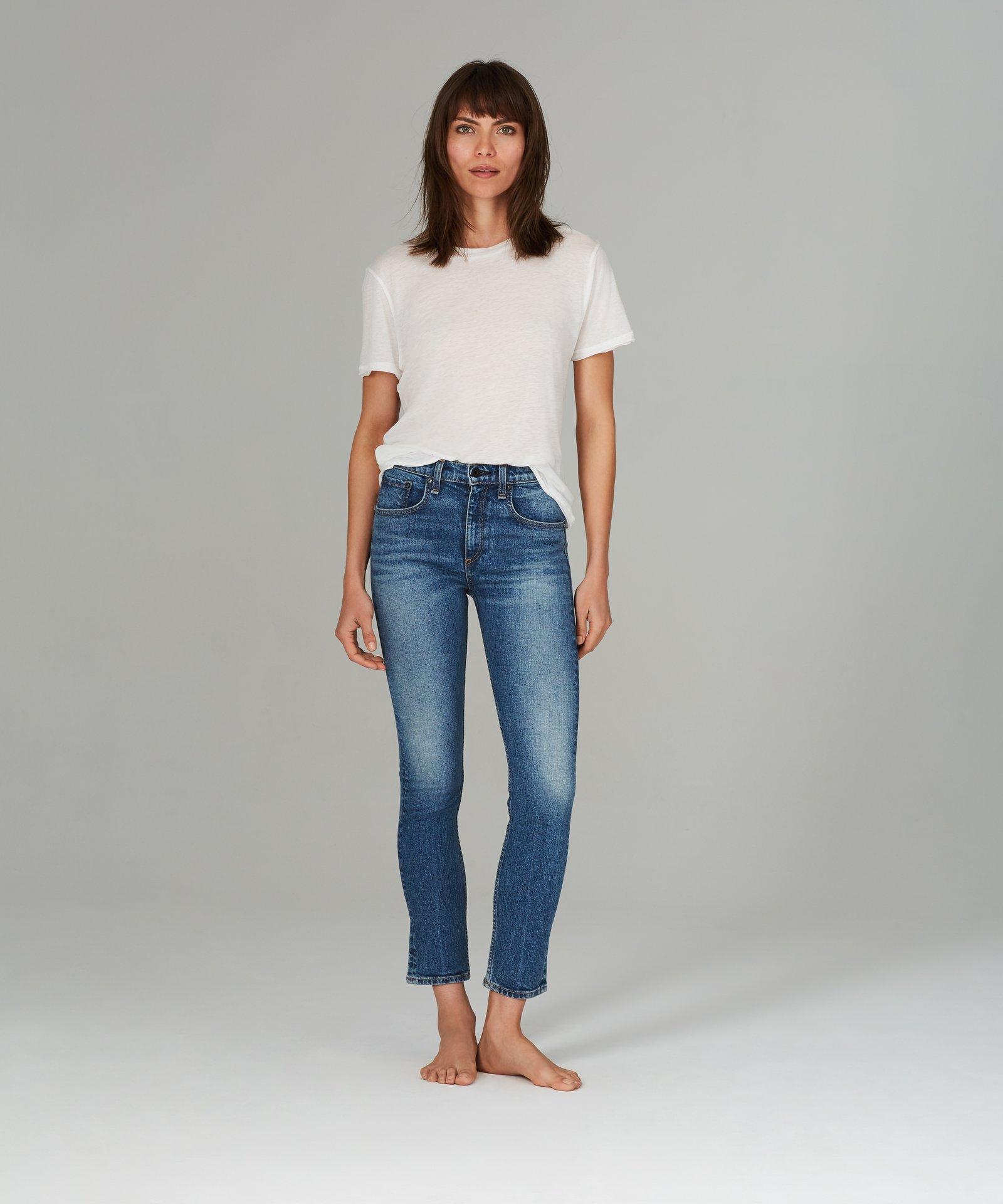 cropped jeans, skinny jeans, denim, medium wash, high rise, askk ny