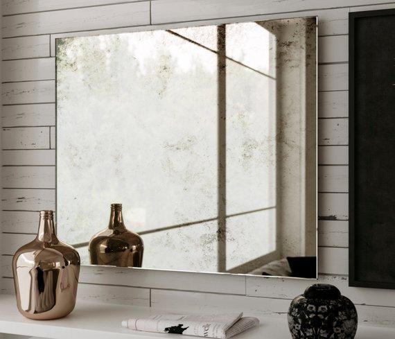 Frameless Antique Mirror Near Window