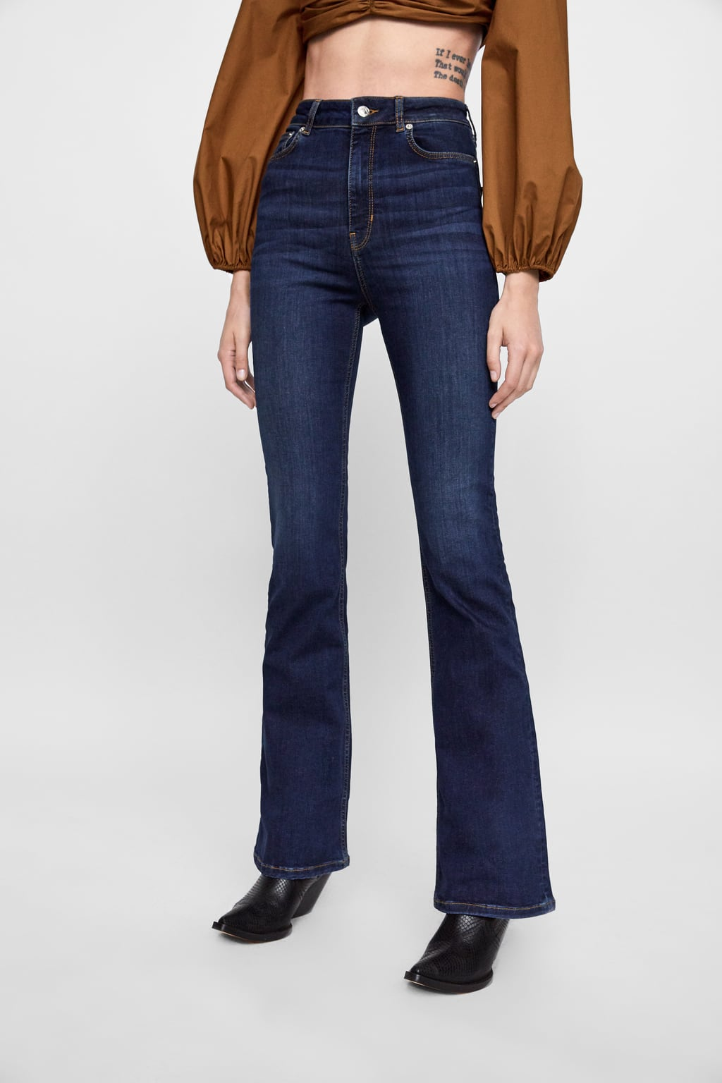 zara, high rise jeans, flare jeans, dark washed denim