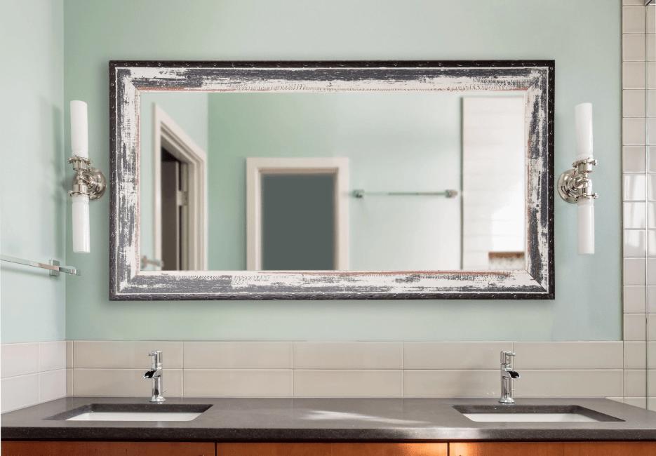 rustic, bathroom, mirror, double vanity