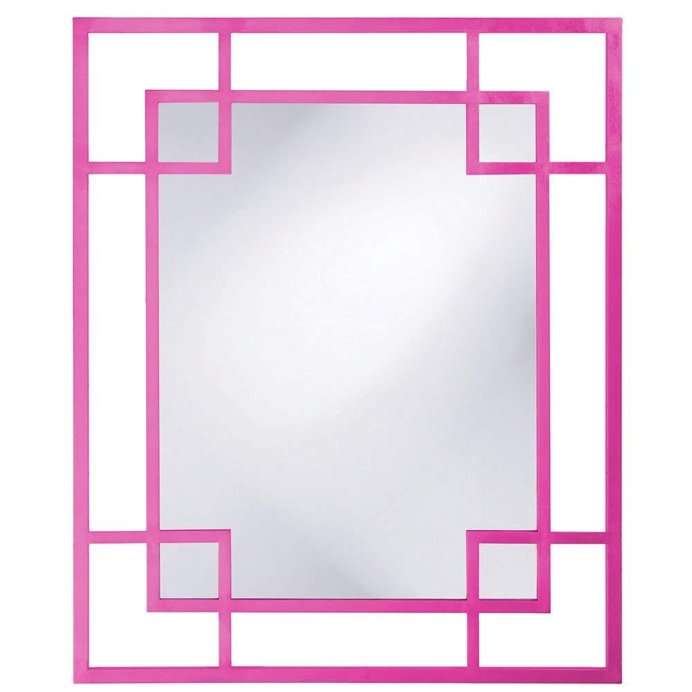 framed mirror, pink mirror, pink wall mirror