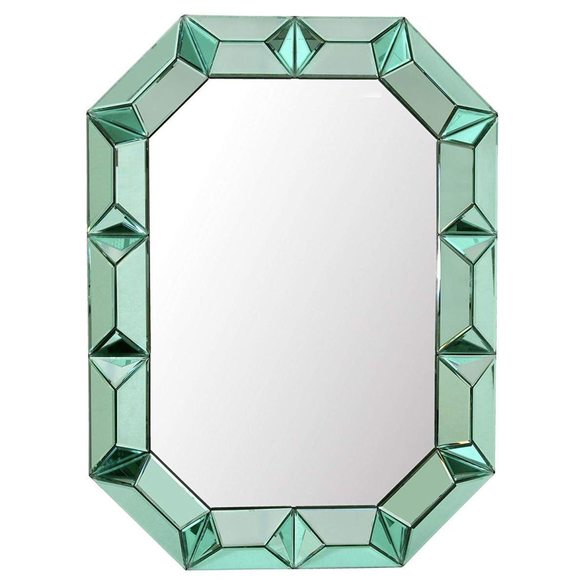 green mirror, colorful mirror, hollywood regency mirror