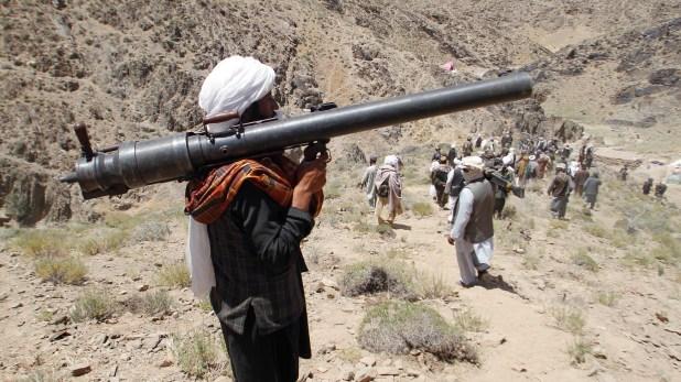 Un grupo de talibanes en el distrito Shinlad, en la provincia de Herat (AP)