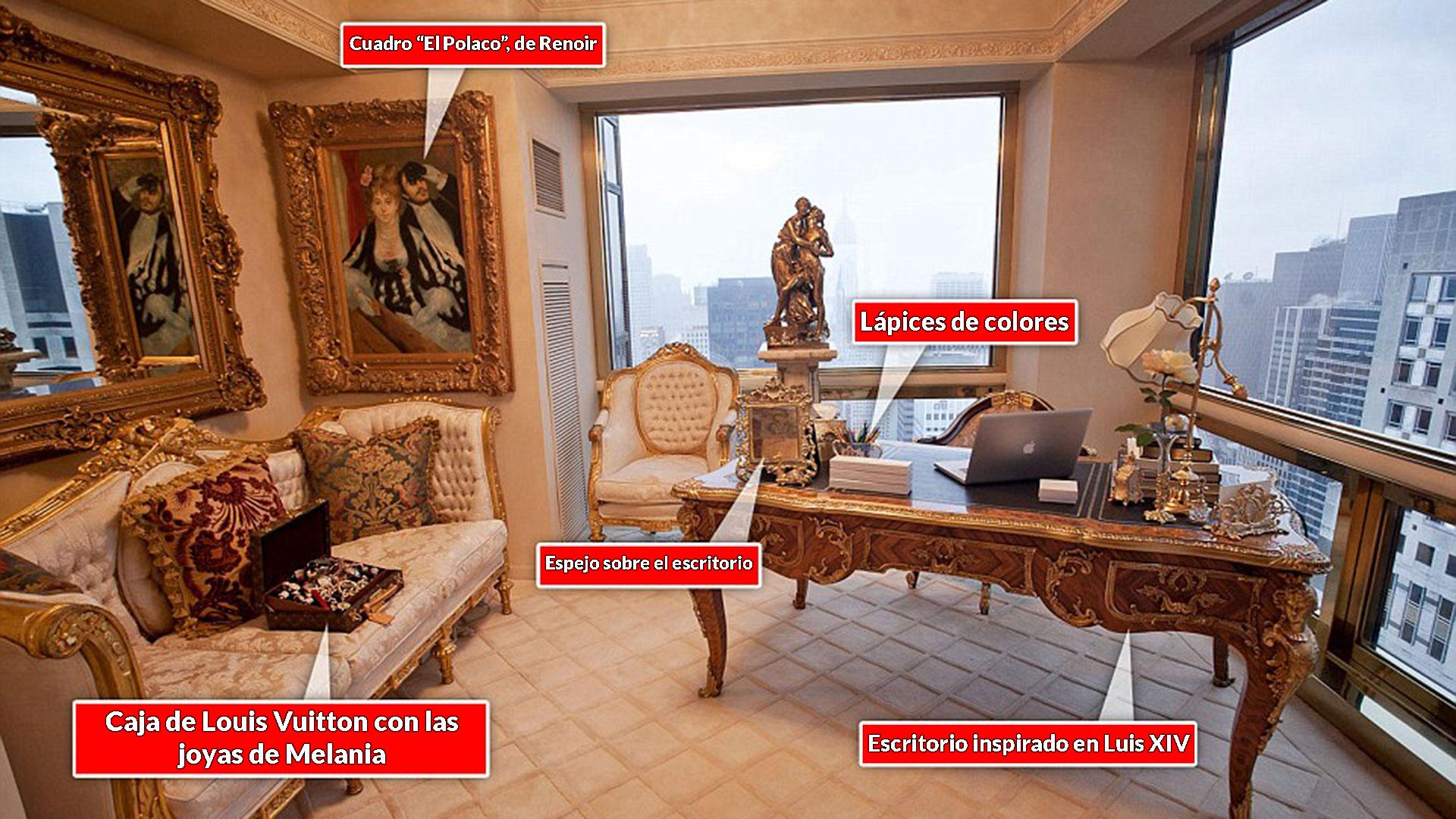 Un cuadro de Renoir y un escritorio inspirado en Luis XIV forman parte de la oficina de Melania Trump