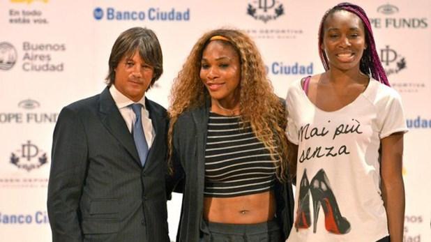 El sponsor: Blaksley con las hermanas Venus y Serena Williams en Buenos Aires.