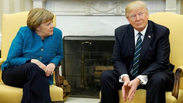 La canciller Angela Merkel durante su reunión con el presidente Donald Trump (Reuters)