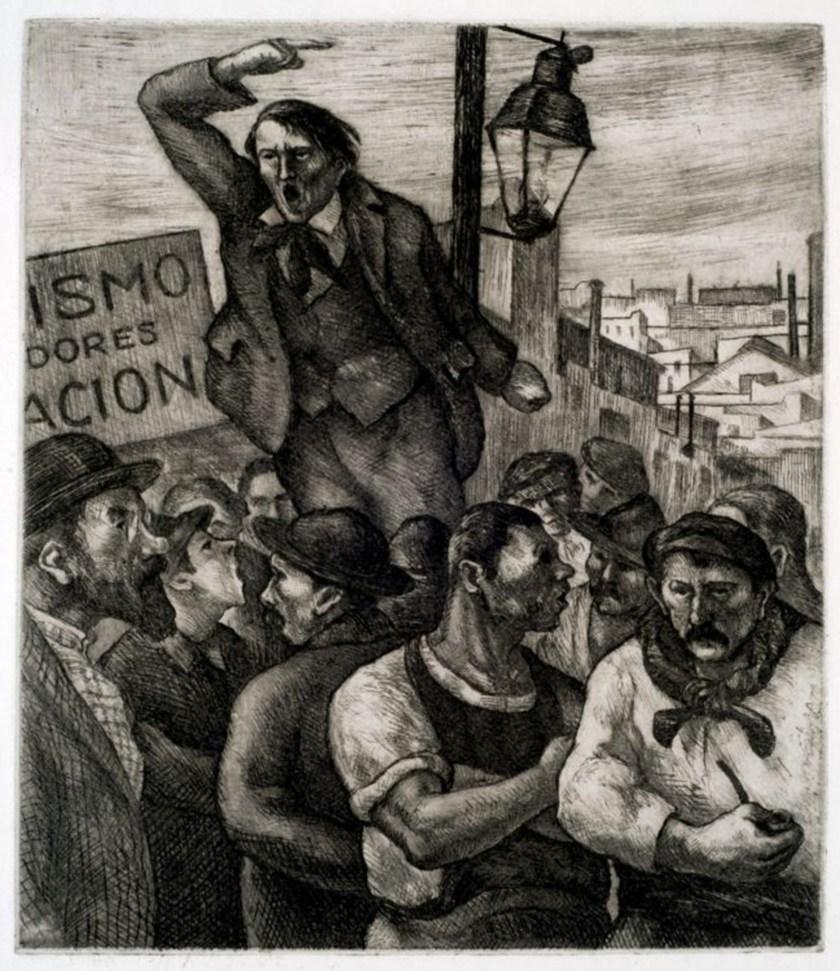 "Abraham Regino Vigo, ""El agitador"" (aguafuerte sobre papel, 1933)"