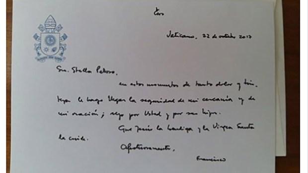 La carta que el papa Francisco le envío a la familia Maldonado