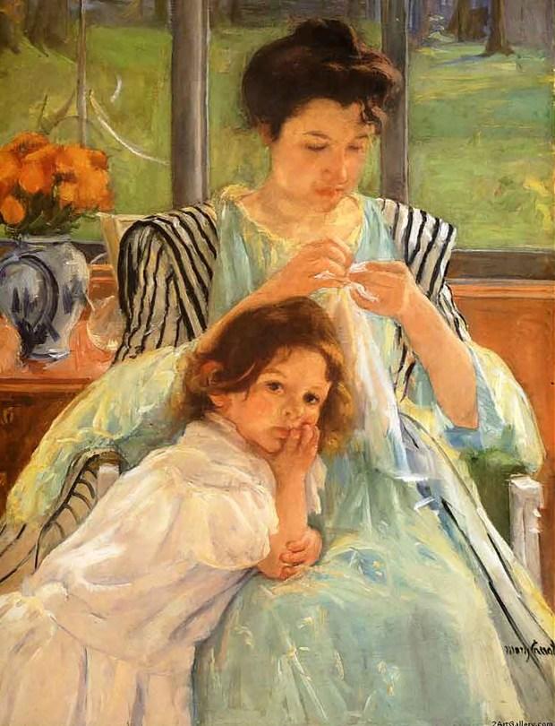 """""""Madre joven cosiendo"""", de Mary Cassatt"""