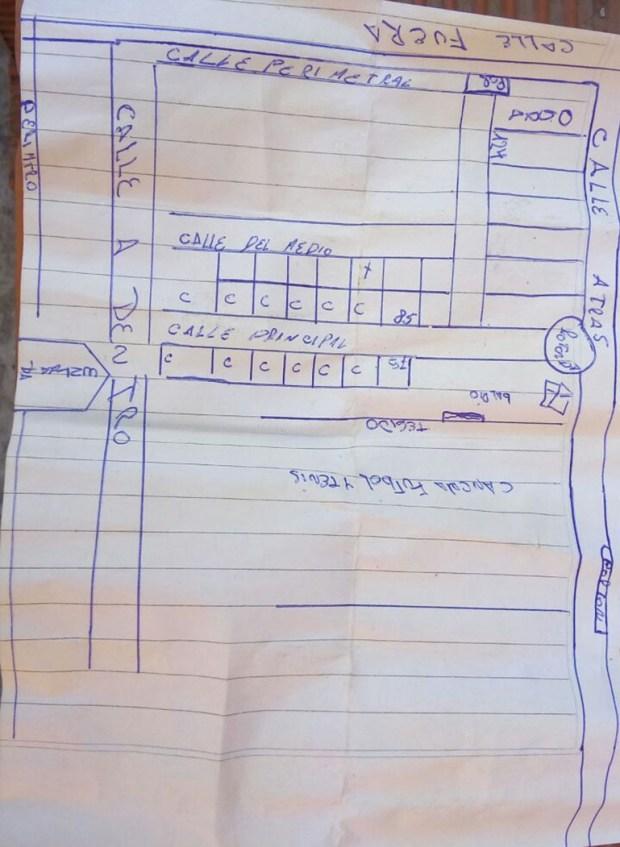 Un mapa elaborado por los sospechosos