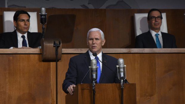 Mike Pence, durante su discurso en la ONU (AFP)
