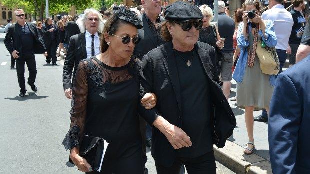 Brian Johnson, cantante de ACDC, también asistió al funeral (AFP)