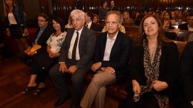 Julio Piumato junto a los secretarios del Ministerio de Justicia Mauricio Devoto (Planificación Estratégica ) y María Fernanda Rodríguez (Acceso a la Justicia)