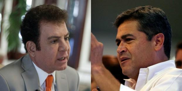 El candidato opositor Salvador Nasralla y el presidente Juan Orlando Hernández