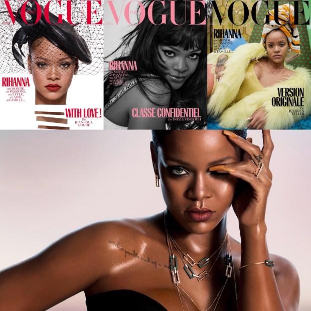 La revista Vogue francesa le dedicó tres portadas distintas a Rihanna en su edición de diciembre