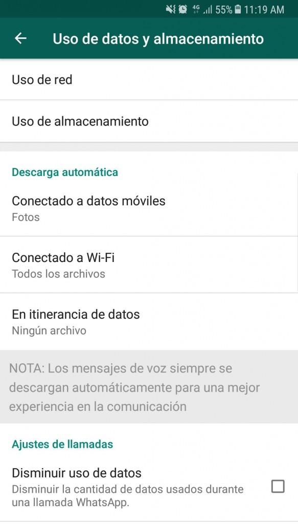 reducir consumo de datos whatsapp